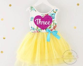 Third birthday three year old baby girls tutu dress party outfit 3rd bday, birthday dress, Yellow Tutu Dress , Birthday Outfit Girl