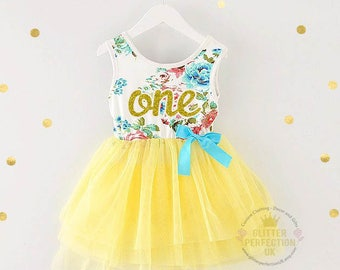 f2a73de5f Baby girl first birthday outfit - Cake Smash Outfit,Toddler Dress, Baby  Girl Dress, Floral dress, Yellow Tutu Dress,Gold Lettering