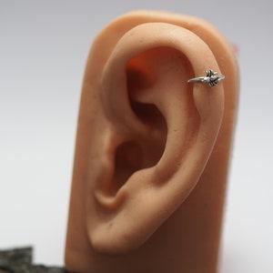 Silver hoop earring Hummingbird earrings belly button piercing girls earring cartilage earring colibri, Helix Dangle earrings rook