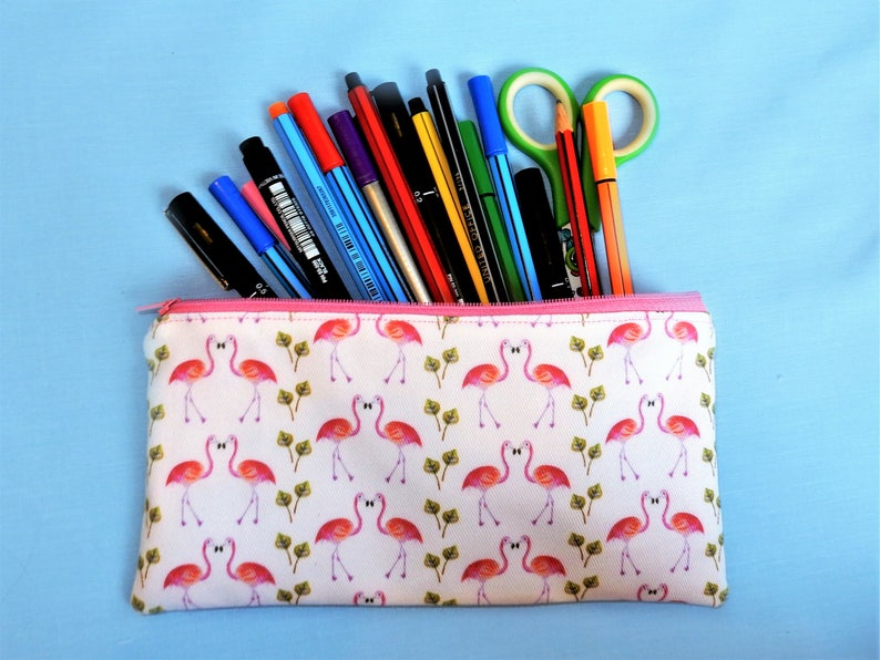 pink flamingo zip pouch quirky pink pencil case unique flamingo print fabric Flamingo pencil case pink pen pouch flamingo gift
