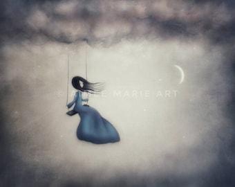 Art Print, 16x20, Dreamy Art, Girl On Swing, Nursery Art, Girls Art, Whimsical Art, Unique Art, Drawing, Moon Art, Magical Art, Home Decor