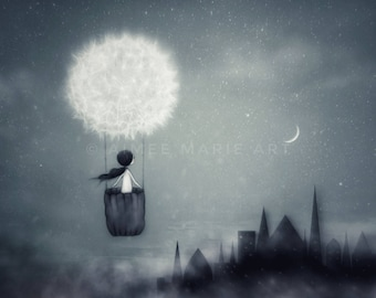 Whimsical Art, 16x20, Girls Art, Magical Art, Moon & Stars, Dandelion Print, Alternative Nursery Art, Dreamy Art, Illustration, Wall Art
