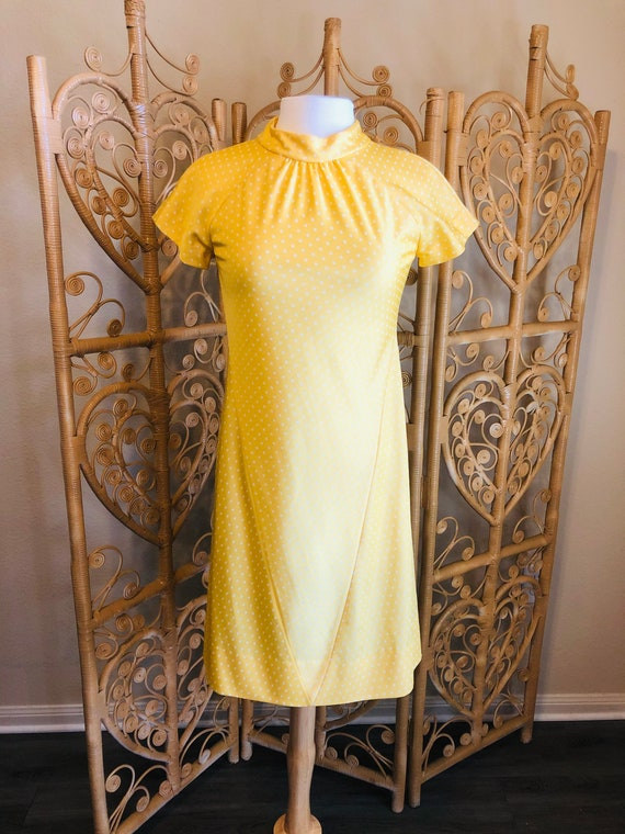 Vintage Yellow Polka Dot Mod Style Dress Size Smal