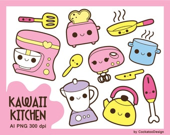 Kawaii Kitchen Clipart Cooking Clip Art Cute Baking Tools Accessories Mixer