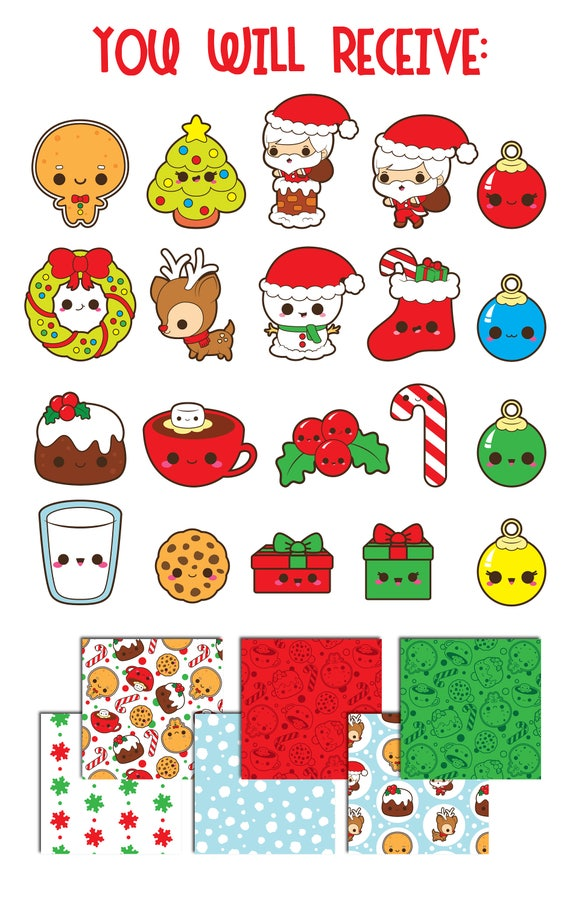Christmas clipart Christmas clip art kawaii Christmas | Etsy