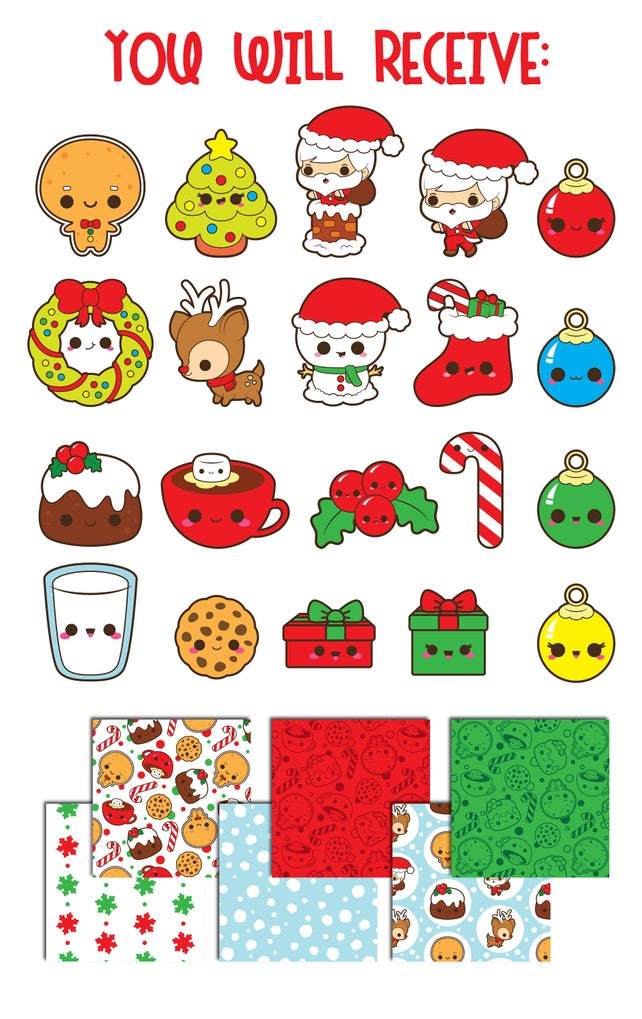 50% OFF Christmas clipart Christmas clip art kawaii | Etsy