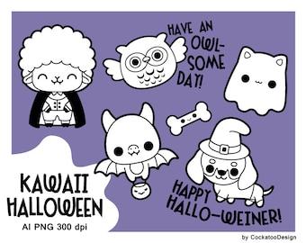 Halloween digital stamp, cat ghost digital stamp, bat digital stamp, owl digital stamp, Dachshund digital stamp, dracula digital stamp