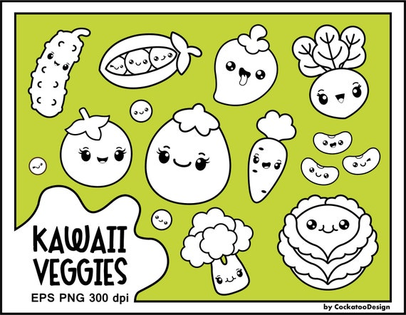 Kawaii Veggies Digital Clipart Instant download
