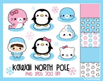 50% OFF, Kawaii penguin clipart, cute penguin clip art, kawaii north pole clipart, polar bear clipart, cute seal clipart, arctic animals art