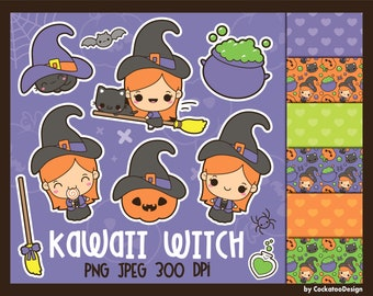 Halloween clipart, Halloween cat clipart, witch clipart, black cat clipart, Halloween clipart, cat clipart commercial use, digital papers