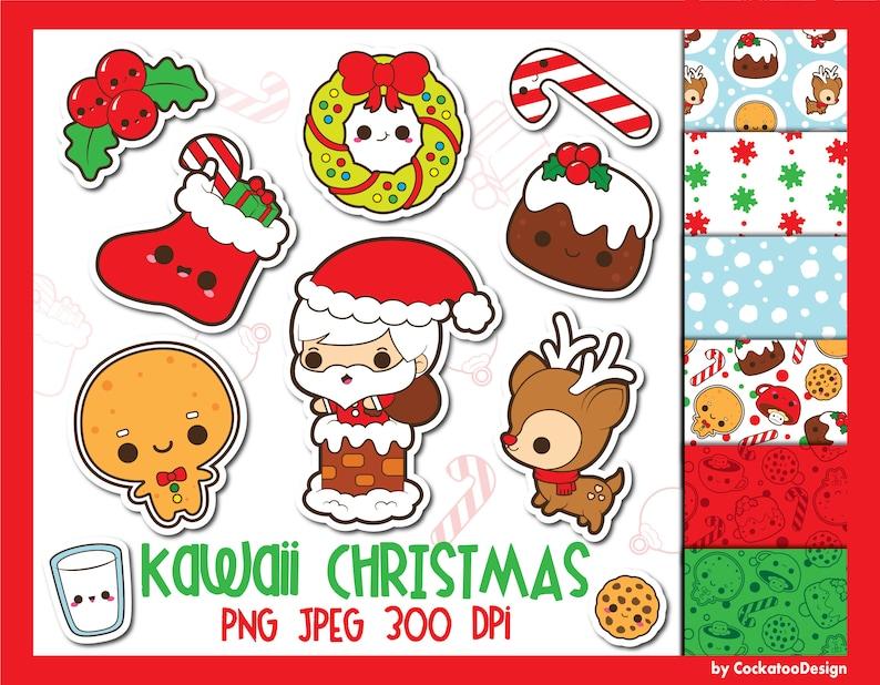 Christmas Clipart Christmas Clip Art Kawaii Christmas Etsy