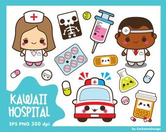 Kawaii hospital clipart, kawaii doctor clipart, medical clipart, healthcare clip art, kawaii pills clipart, health, Commercial Use