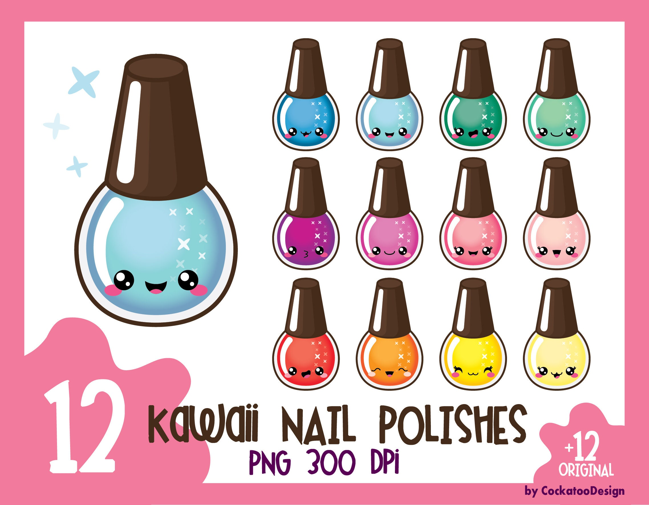 Kawaii nail polish clipart nail polish clip art manicure ...