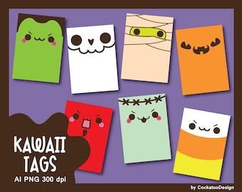 Kawaii Halloween clipart, Halloween tag, Halloween printables, Halloween digital tag, Halloween printable tag, Halloween sign, treat bag tag