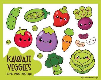 Kawaii vegetables clipart, kawaii veggies clipart, healthy food clipart, cute vegetables clipart, beans, vegetarian, Commercial Use
