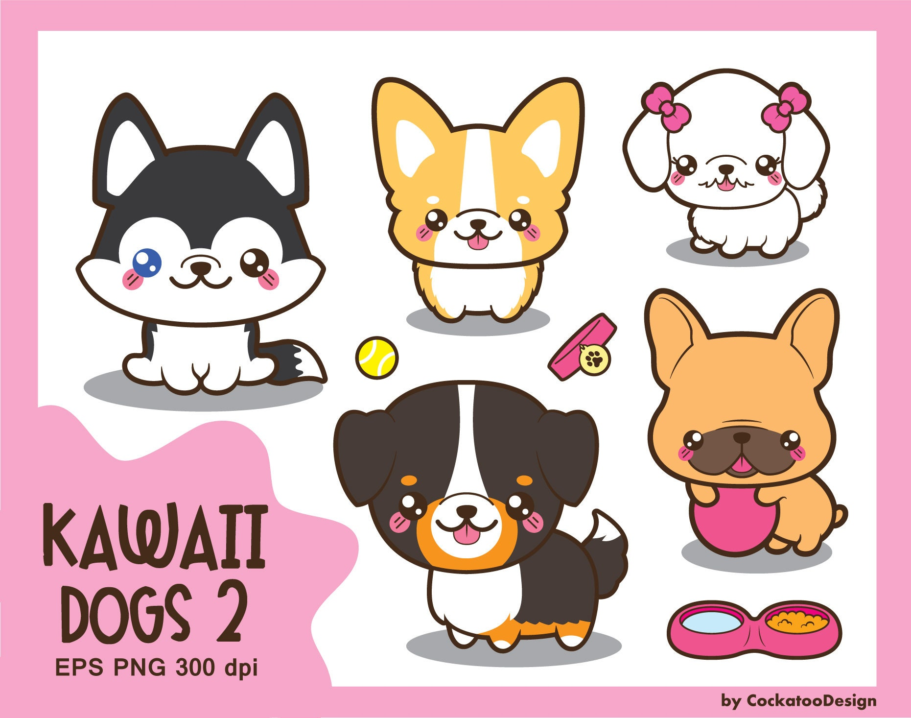 Kawaii dog clipart cute dog clipart dog breeds clipart | Etsy