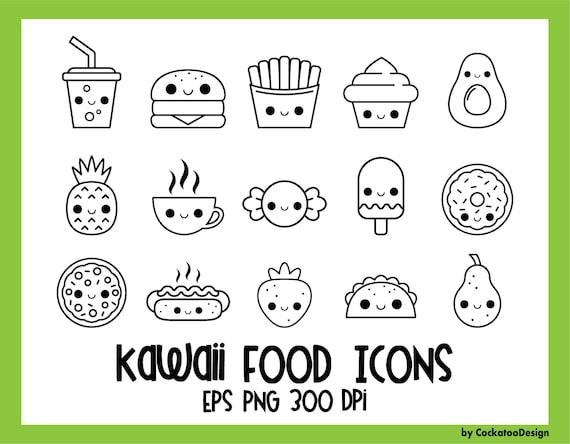 Essen Symbole Kawaii Digitale Briefmarken Kawaii Essen Etsy
