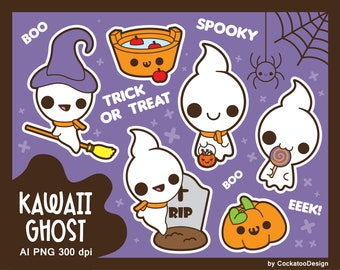 Kawaii ghost clipart, cute ghost clipart, kawaii Halloween clipart, Halloween ghost clipart, spooky ghost clipart, Halloween kawaii clipart
