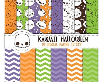 Halloween digital papers, kawaii halloween digital papers, halloween pumpkin digital papers, skeleton digital papers, cute halloween