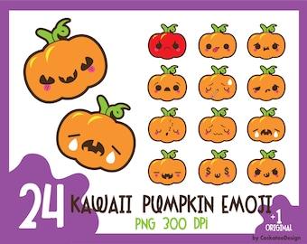 Kawaii pumpkin clipart, halloween pumpkin clip art, emoji clipart, pumpkin clipart, kawaii halloween clipart, Commercial Use