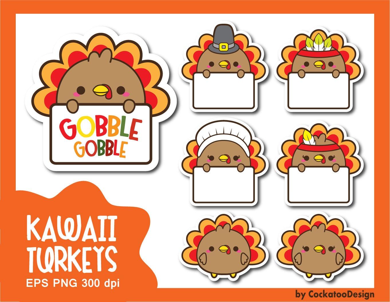 Turkey clipart kawaii turkey clipart thanksgiving clipart ...
