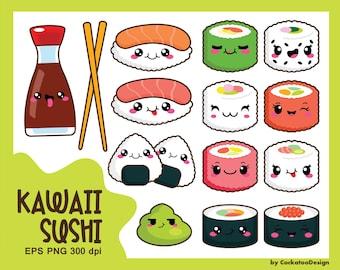 Kawaii clip art, kawaii sushi clip art, kawaii sushi clipart, cute sushi clip art, sushi clip art, sushi clipart, kawaii clipart