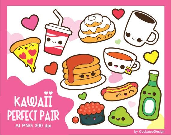 Clipart Di San Valentino Kawaii Cibo Clipart Kawaii San Etsy
