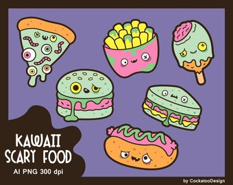 Halloween food clipart, cute ghost clipart, kawaii Halloween clipart, fast food clipart, kawaii halloween clipart, cute clipart, spooky