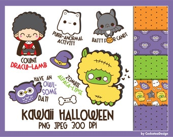 Kawaii Halloween clip art, Halloween pun clipart, cute Halloween clipart, kawaii Halloween clipart, Dachshund clipart, ghost clipart, bat