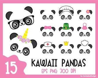 Kawaii panda clipart, cute panda clipart, unicorn panda clipart, kawaii panda clip art, nerdy panda clipart, pandicorn clipart, nerd clipart