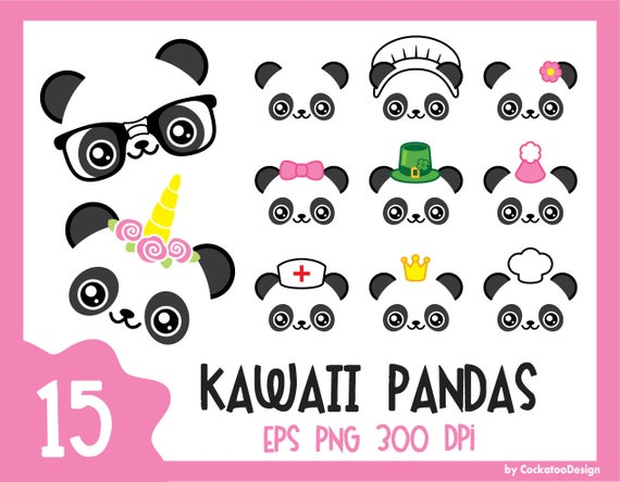 Clipart Panda Kawaii Panda Mignon Clipart Licorne Panda Etsy