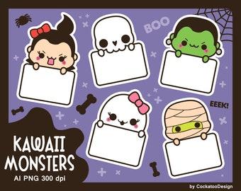 Halloween clipart, kawaii halloween clip art, kawaii halloween clipart, cute ghost clipart, skeleton clipart, frankenstein clipart, dracula