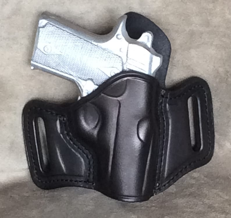 Kimber Micro Carry 380 OWB Pancake Leather Gun Holster with Sweat Shield