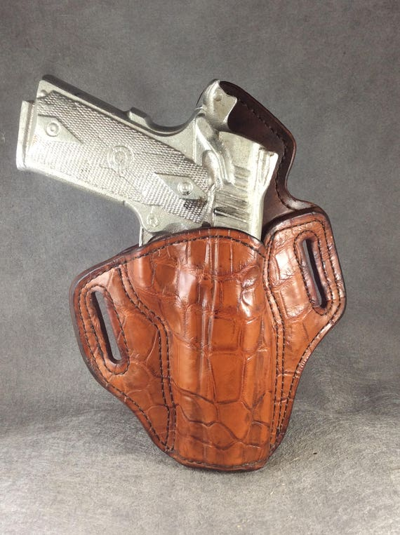 Kimber 1911 Commander OWB Crocodile and Leather Holster
