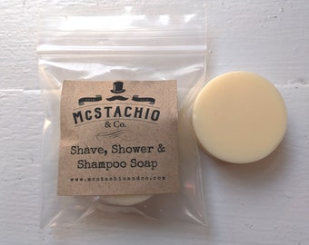 Travel Size Sandalwood and Amber Shave, Shower and Shampoo Soap - 1oz