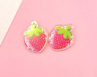 Fruit Earrings- Strawberry Acrylic Dangle Earrings- Hypoallergenic Steel
