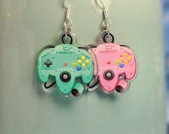 Retro, Cute N64 Controller Earrings- Acrylic Dangle Earrings- Hypoallergenic Steel