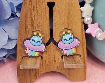 Uchuu Kei- Cute Alien Ship Earrings- Acrylic Dangle Earrings- Hypoallergenic Steel