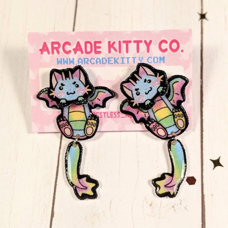 Rainbow Dragon Kitty Original Fantasy Cat Collection image 0