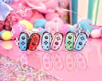 Cute Switch Joy-Con Controller Earrings- Clear Acrylic Dangle Earrings