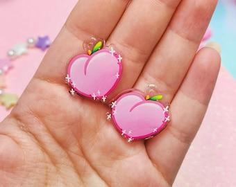 Cute Pink Peach Dangle Earrings- Acrylic Dangle Earrings- Hypoallergenic Steel