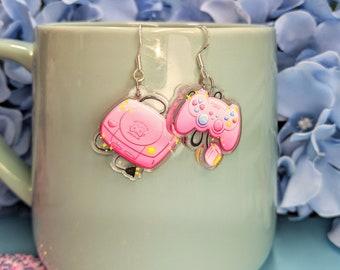 Retro Pink Playstation Gamer Console Earrings- Acrylic Dangle Earrings- Hypoallergenic Steel