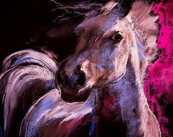 Large print Wall Art, Art Print on Canvas, Horses, Drawing Colored Pencils, Canvas Art, Interior Art, Living Room Decor