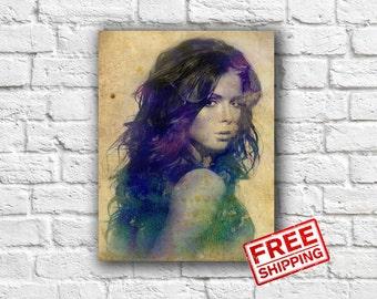 Personalized Portrait  Custom portrait printable watercolor portrait on canvas Ideas gift