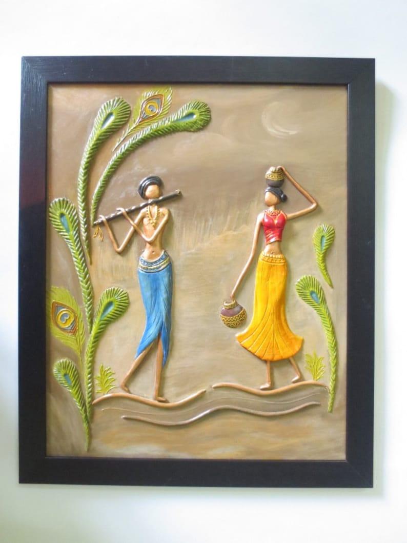 Radha Krishna Tribal Wall Painting