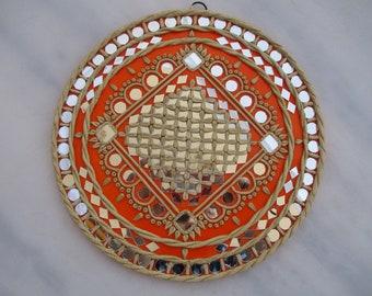 Wall Piece! Lipan art , Mud and mirror work, Mosaic Mirror art, Good according to Feng Shuai! 12 inch.