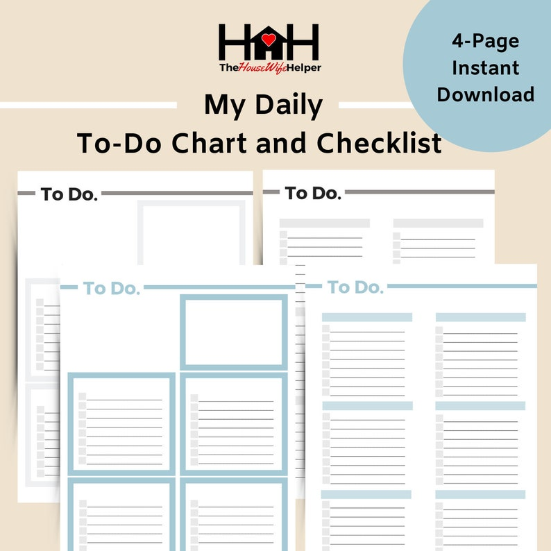 photograph about Productivity Planner Templates titled Toward-Do Chart and List // Everyday Planner Printables // Planner Inserts // Efficiency Planner // Each day Process Listing // Coloration and Impartial
