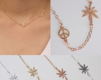 Peace and weed necklace - cannabis necklace - pot necklace - peace necklace- weed necklace - 420 bracelet - mary jane