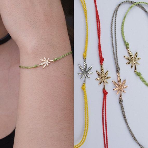 Cannabis silk cord bracelet - adjustable marijuana bracelet  - silk pot bracelet - leaf bracelet- rose gold - gold - silver