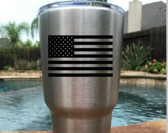 USA Flag Decal for YETI, Corkcicle, RTIC, Vinyl Decal, Car Decal, United States Flag